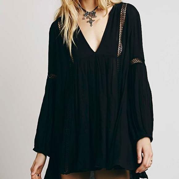 7ad2c8346fb6 Free People Tops - free people babydoll lace inset swing tunic